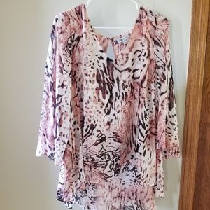 Jennifer Lopez pink leopard blouse, 1X